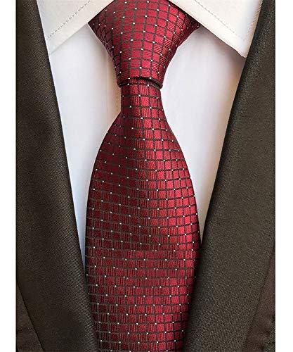 (Men's Classic Burgundy Red Tie Jacquard Woven Silk Necktie + Gift Box)