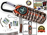 550 Paracord Grenade Emergency Kit - Your Survival Pack Is 550 Parachute Cord Has an Attached Clip & Compass Filled with 17 Tools (Tan Camo/ Orange)