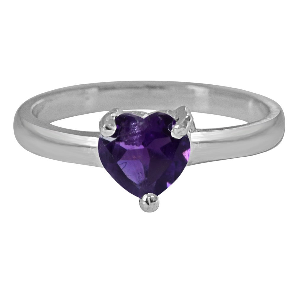 SURATDIAMOND 70 Cents Heart Purple Solitaire Amethyst Sterling 925 Silver Ring Jewellery for Women