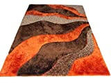 Light Orange Dark Orange Brown 3D Simple wave design Shaggy shag Area Rug 8×10 Two Toned Hand Woven Tufted 3 Dimensional Viscose Yarns Thick Pile Review