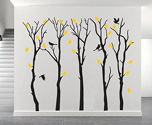 Fymural Large 5 Poplar Trees Wall Stickers Art Mural Wallpaper for Kid Baby Nursery Livingroom Background Vinyl Removable DIY Decals 133.9x102.4,Black by Fymural (Image #2)