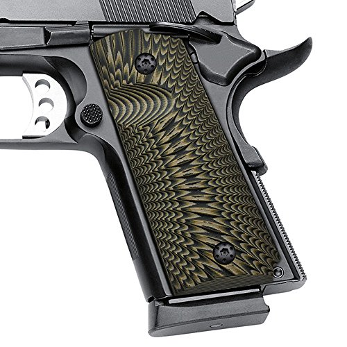 Cool Hand 1911 G10 Grips, Compact/Officer, Sunburst Texture, Brand, Coyote Color, H2-J6-24 (Best Compact 1911 Pistol)
