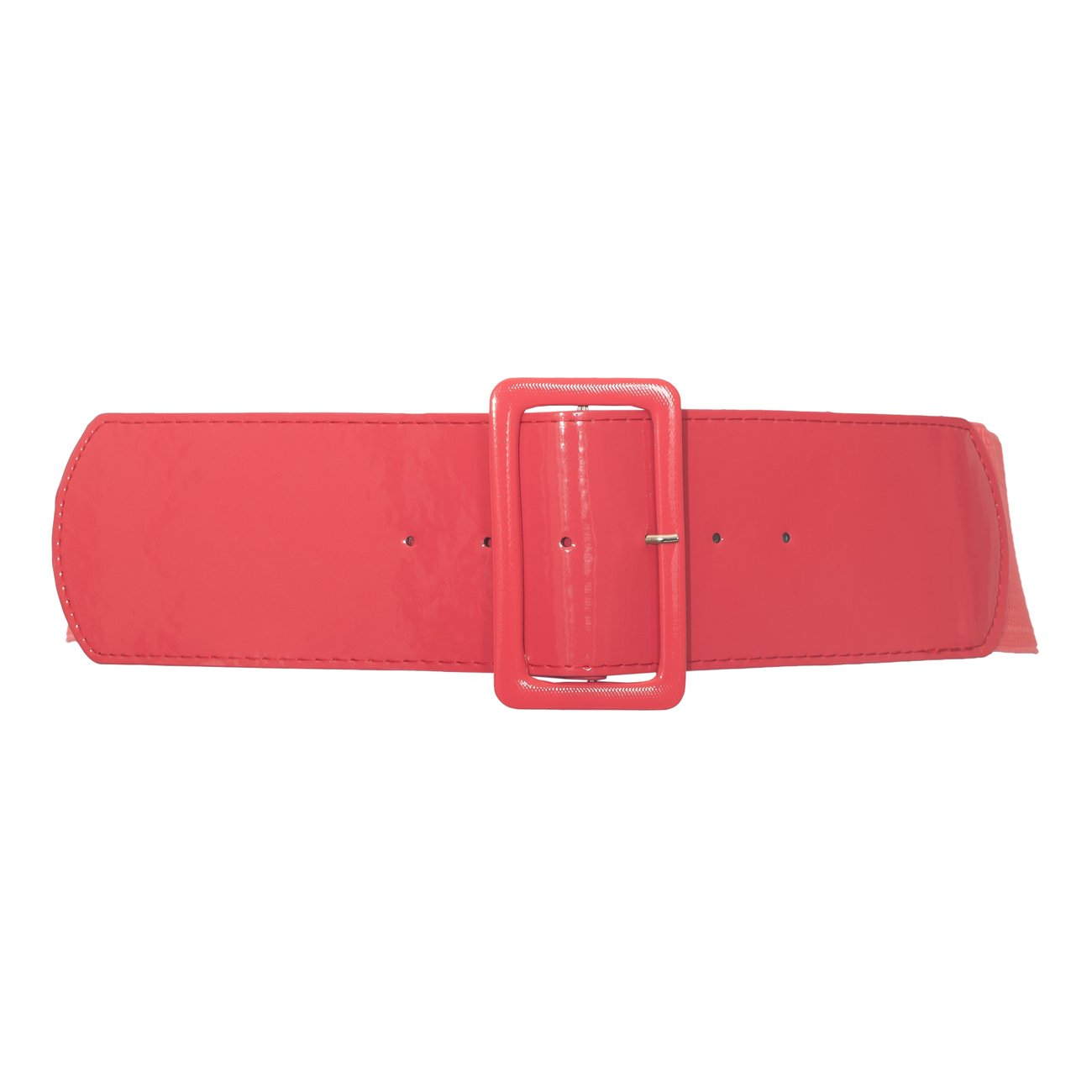 eVogues Plus Size Wide Patent Leather Fashion Belt Coral 18912 - One Size Plus