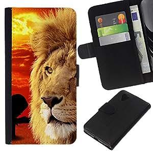 All Phone Most Case / Oferta Especial Cáscara Funda de cuero Monedero Cubierta de proteccion Caso / Wallet Case for LG Nexus 5 D820 D821 // Mane African Savannah Red Sunset Lion