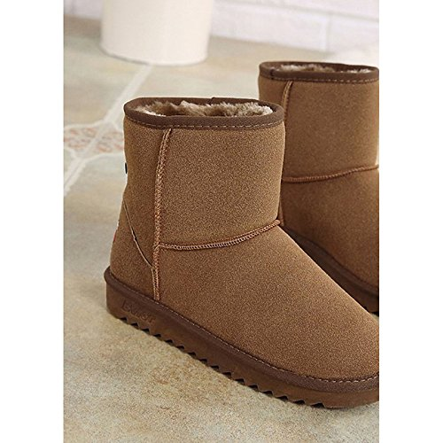 ZHZNVX HSXZ Nubuk Leder Damen Schuhe Winter Stiefel Absatz Braun Runder Mid-Calf Stiefel für Casual Schwarz Braun Absatz Braun 5b8c31