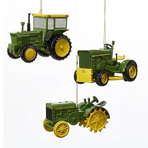 Kurt Adler 3 Assorted John Deere Tractor 1964 Model 4020, 1963 Model 110 And 1923 Model 3 Christmas Ornaments (Christmas Tree Deere John)