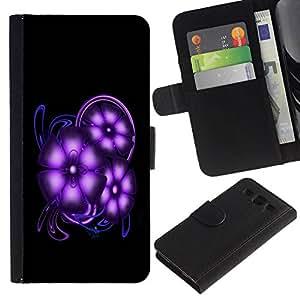 All Phone Most Case / Oferta Especial Cáscara Funda de cuero Monedero Cubierta de proteccion Caso / Wallet Case for Samsung Galaxy S3 III I9300 // Purple Space Flowers