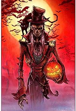 Flduod Halloween Dream M Skull Impreso Pintura Lienzo Arte de la Pared Pintura al óleo Sala de Estar Decoración del hogar Pared 40X55Cm Sin Marco