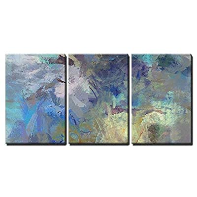 Quality Creation, Grand Portrait, Art Abstract Acrylic Blue Background with Beige and Violet Blots x3 Panels