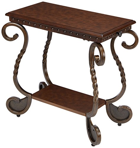 (Ashley Furniture Signature Design - Rafferty Chairside End Table - Antique Finish with Metal Base - Rectangular - Dark Brown)