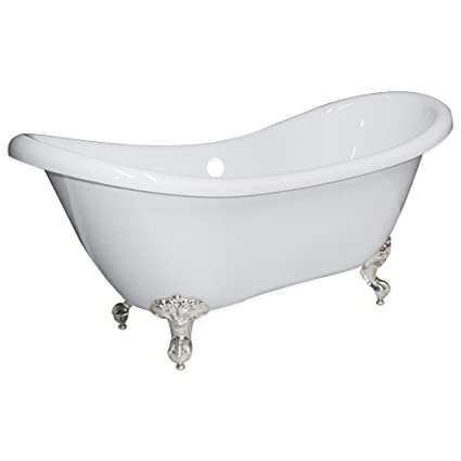 Delicieux 68u0026quot; Claw Foot Bathtub Acrylic Double Ended Slipper With NO Faucet  Holes U0026 Brushed Nickel