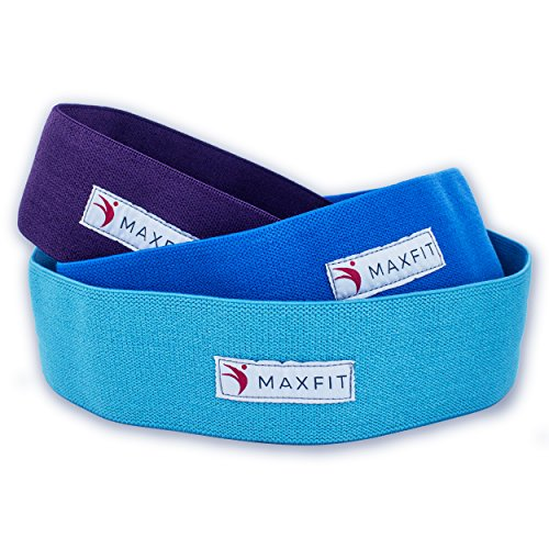 MaxFit Premium Hip Bands for Women, Resistance Bands with Different Intensity Levels for Workouts, Booty building, Warm-ups, Squats, Cross fit & Yoga, Set of 3 Exercise Bands with Drawstring Bag