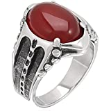MoAndy Jewelry Stainless Steel Men's Fashion Rings Vintage Gemmed Drop Ruby Red US Size 10