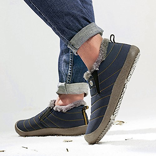 Shoes Women Blue Anti Booties Boots Lightweight Winter Waterproof Slip On Slip Snow Low for XIDISO Top Boot Men Ankle qvI0Wa