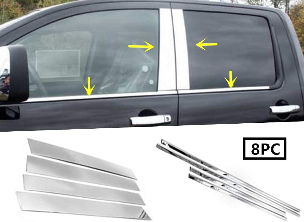 eLoveQ Stainless Steel Chrome Window Sill+Pillar Post FOR 2014-2018 Chevy Silverado//GMC Sierra Crew Cab Only