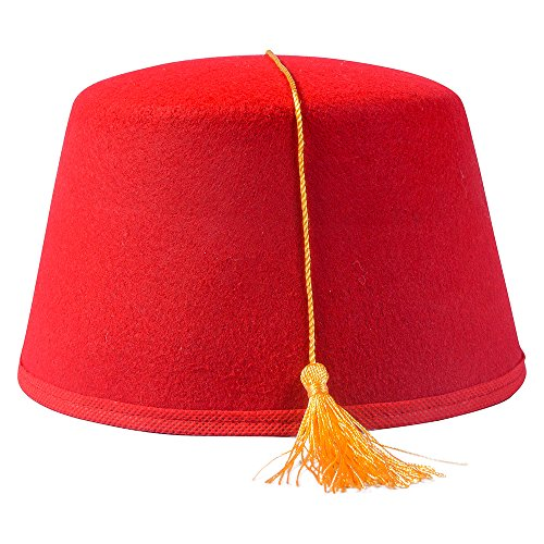 Red Fez Hat - Turkish Hats in Felt with Gold Tassel by Funny Party Hats