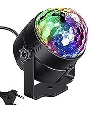 كرة اضواء ديسكو دوارة تنشط خاصة بالحفلات باضواء ستروب 3 وات اضواء ليد بالوان احمر اخضر ازرق مناسبة لحفلات عيد الميلاد وحفلات الزفاف