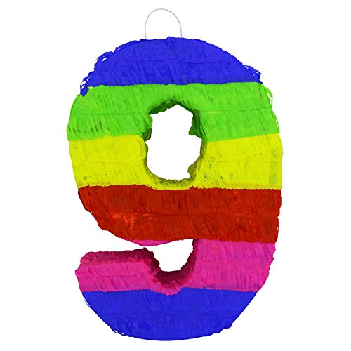 LYTIO - Multicolor Paper 3D Number Nine Pinata (Piñata) – Great for Any Party, Décor, Photo Prop.