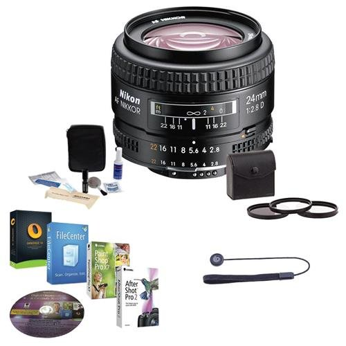 Nikon 24mm f/2.8D ED AF NIKKOR Lens - USA Warranty - Accessory Bundle w/52mm Filters & Pro Software
