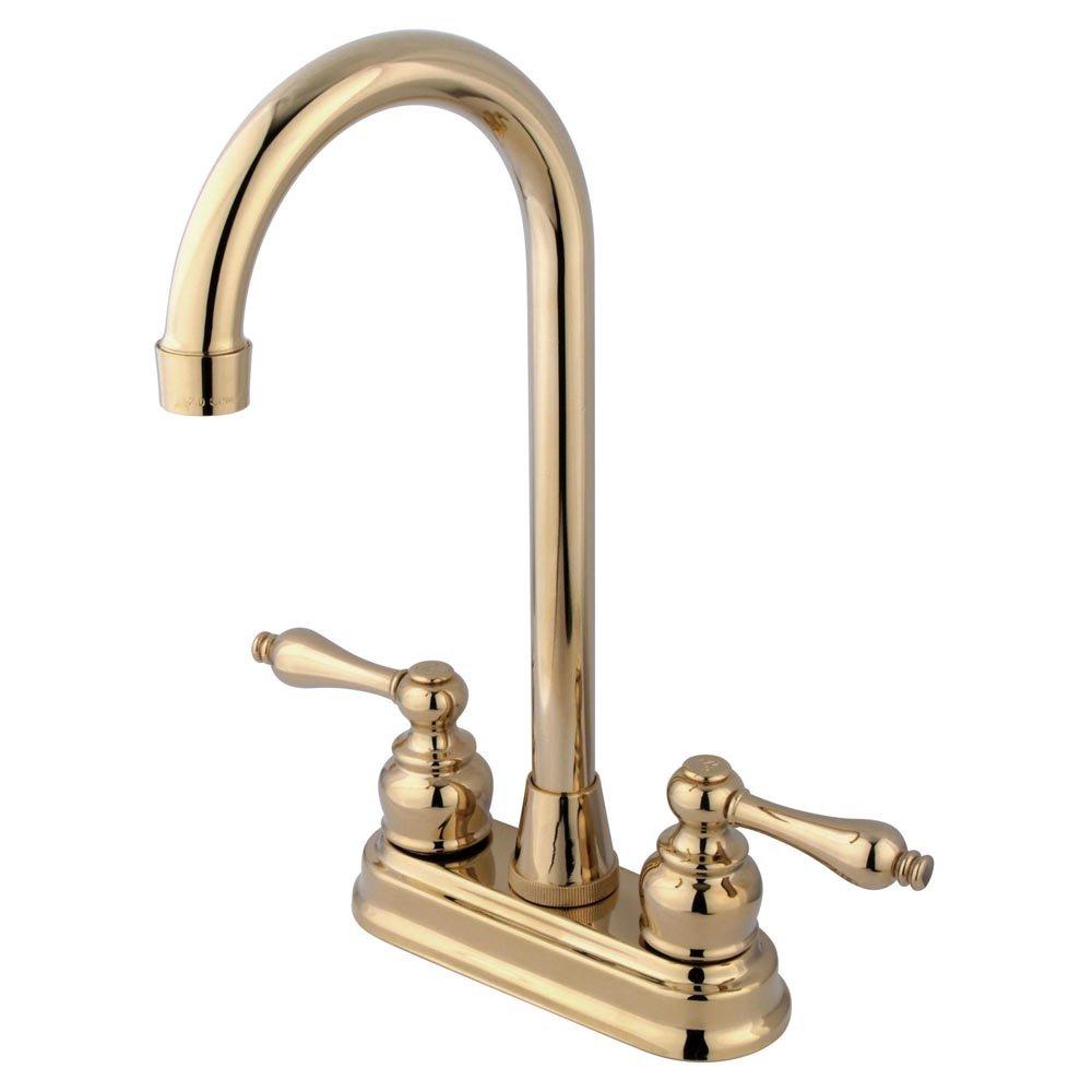 Kingston Brass KB492AL Victorian High-Arch Bar Faucet, 4-3/4'', Polished Brass