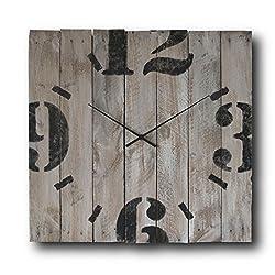 Large Decorative Wall Clock 20-inch - Square Wood Rustic Original - Silent Non Ticking Quartz for Home