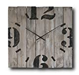 Cheap Large Decorative Wall Clock 20-inch – Square Wood Rustic Original – Silent Non Ticking Quartz for Home