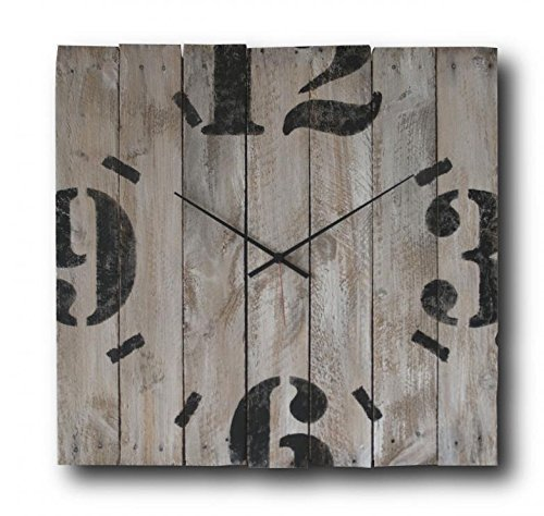 Large Decorative Wall Clock 20-inch - Square Wood Rustic Original - Silent Non Ticking Quartz for Home