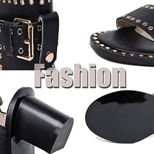 Mr.LQ Tacco A Spillo Da Donna Con Cinturino Alla Caviglia E Cinturino Alla Caviglia,Black,38  J5Iv4W