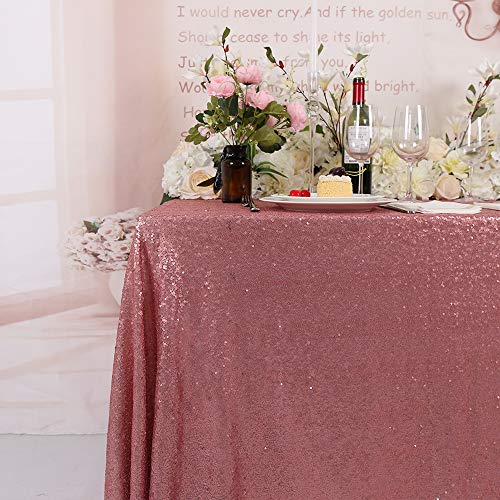 BalsaCircle TRLYC 50x50-Inch Square Sequin Tablecloth for Wedding Happy New Year-Blush Pink