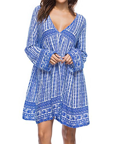 Kidsform Women Boho Mini Dress Floral Printed Long Sleeve Deep V-Neck Loose Flowy Party Beach Short Dress Blue ()
