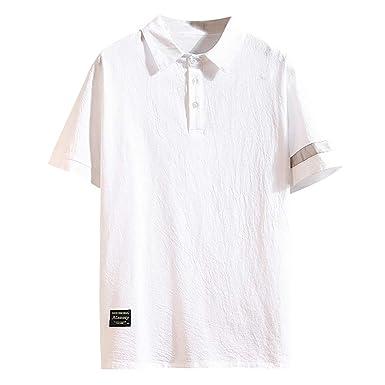 Camisetas para Hombre Algodón y Lino Camisas Casual para Hombre ...