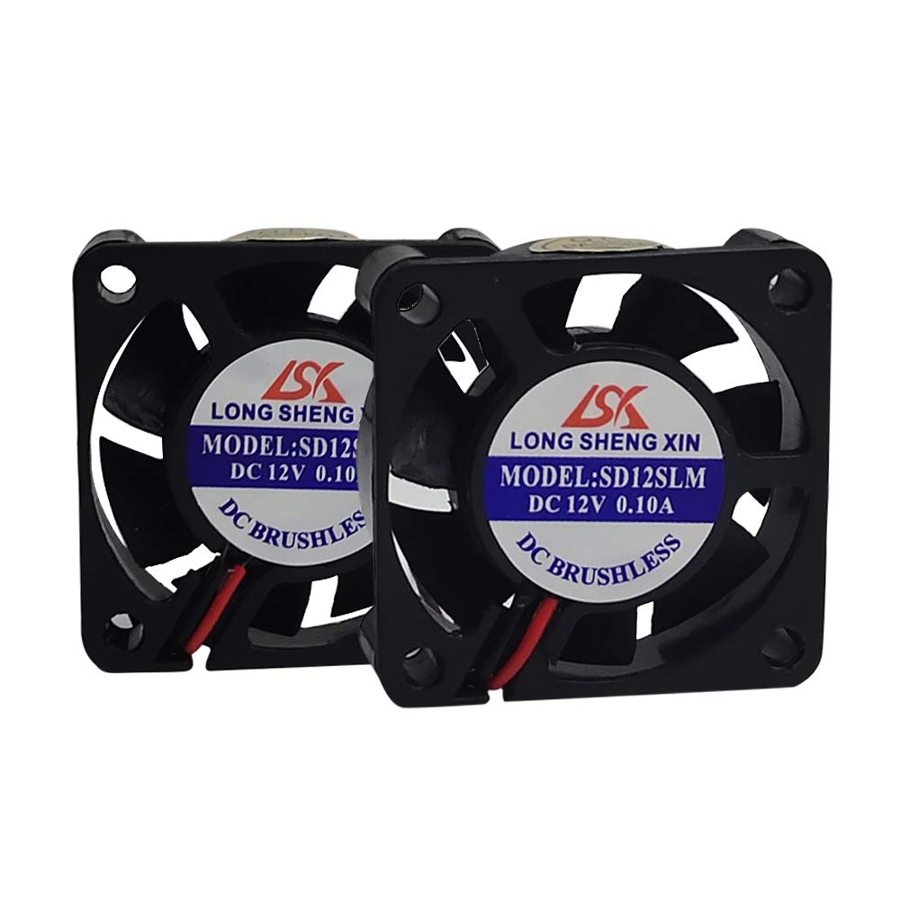 HWA KUNG 2 pcs 3D Printer Cooling Fan Extruder Accessory 40x40x10mm DC 12V Connector Bearing Silent Brushless Heatsink Cooler Blower for 3D Printer,Black