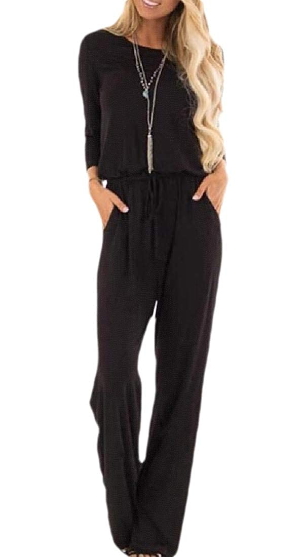 ouxiuli Women Fashion Casual Long Sleeve Elastic Waist Jumpsuit Romers with Pockets
