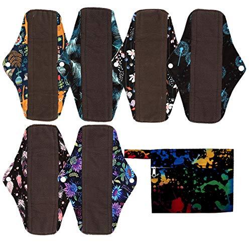 7pcs Set 1pc Mini Wet Bag +6pcs 10 Inch Regular Charcoal Bamboo Mama Cloth/Menstrual Pads/Reusable Sanitary Pads (Ink) (Reusable Cloth Menstrual Pads)