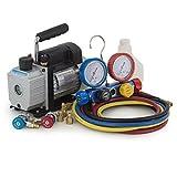 ARKSEN A/C Manifold Gauge R410 R22 R134 R407C Set + 3CFM Rotary Vacuum Pump 1/3HP