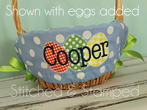 (Personalized Easter Basket Liner - Light Blue Polka Dot - Personalized with Name)
