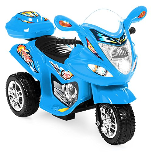 Best Choice Products 6V Kids Battery Powered 3-Wheel Motorcycle Ride-On Toy w/ LED Lights, Music, Horn, Storage - Blue ()