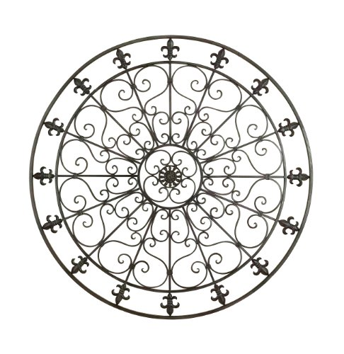 - Deco 79 Rustic Fleur-De Lis and Scrollwork Metal Wall Medallion, 42