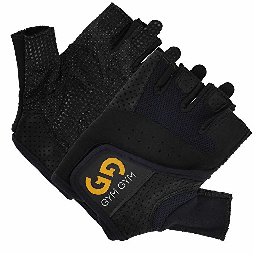 Weightlifting Gloves Pair by GYM GYM, For Men, Half-Finger Design, Quality Material, Comfortable, Secure No-Slip Grip, Sweat-Resistant, Easy Wear, Washable, Essential Workout Accessory (Black, Medium)