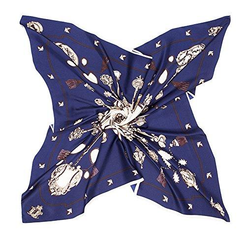 Promini Women's Silk Square Scarf Classic Key Pattern Large Neckerchief Headdress 40