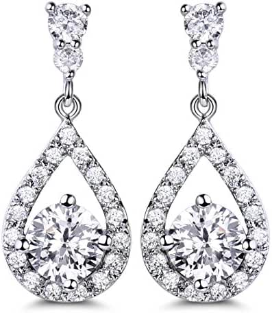 GULICX Silver Plated Base Round Cut Flawless CZ Cubic Zirconia Crystal White Women Drop Earrings
