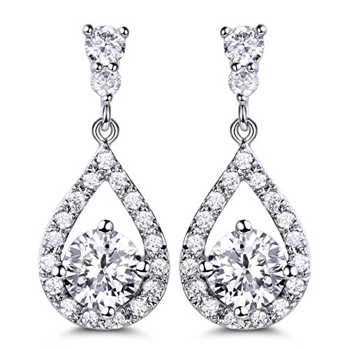GULICX Dazzling Silver Plated Base Clear Round Cut Flawless CZ Cubic Zirconia Crystal White Drop Earrings