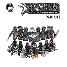 ABG Toys 8 Mini Figurines SWAT MILITARY FALCON COMMANDOS Minifigure Series Building Blocks Sets Toys