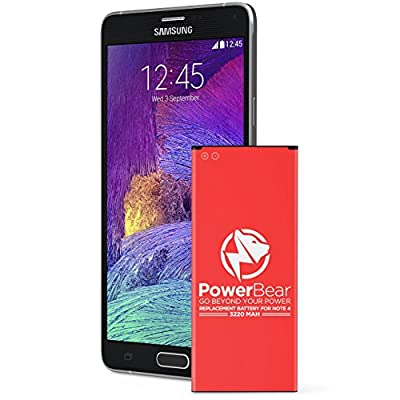 PowerBear Note 4 Battery | 3220 mAh Li-Ion Battery for the Samsung Galaxy Note 4 [N910, N910U LTE, AT&T N910A, Verizon N910V, Sprint N910P, T-Mobile N910T] Note 4 Spare Battery [24 Month Warranty] from PowerBear LLC