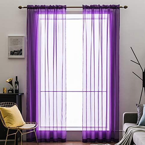 (MIULEE 2 Panels Solid Color Sheer Window Curtains Elegant Window Voile Panels/Drapes/Treatment for Bedroom Living Room (54X84 Inches Purple))