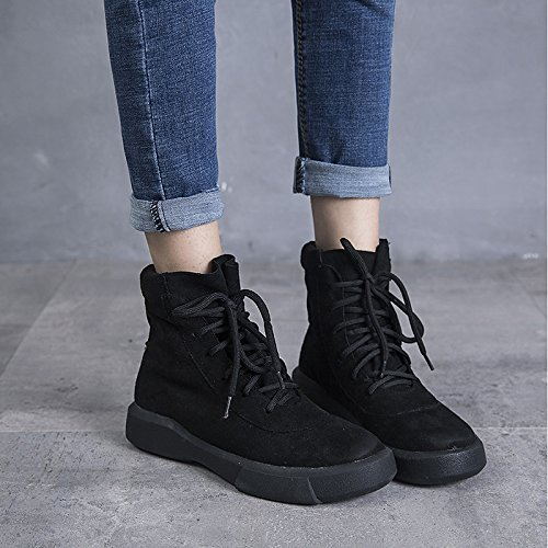 Almond Round Women's for Dress Flat PU Boots Shoes Winter Black Snow Toe HSXZ Almond Casual Boots ZHZNVX Rznqx6w