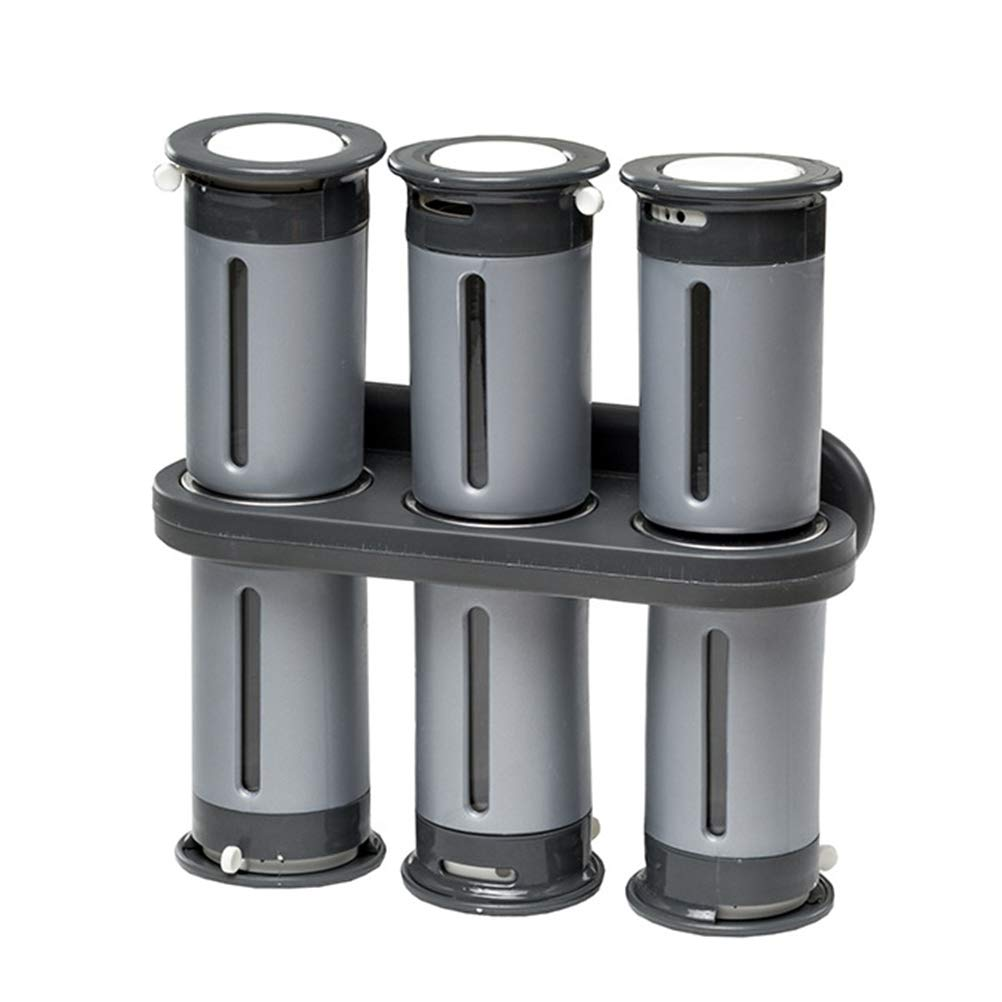 GFYWZ Wall Mounted Magnetic Spice Rack with 6 Canisters, Zero Gravity Spice Rack Magnet Seasoning Kitchen
