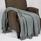 Home Soft Things BOON Knitted Tweed Throw Couch Cover Blanket, 50 x 60, Silver Blue