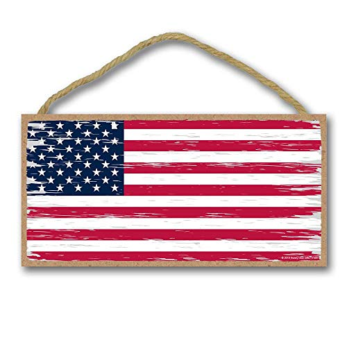Honey Dew Gifts Man Cave Bar Patriotic Signs, American Flag 5 inch by 10 inch Hanging Wall Art, Decorative Wood Sign, American Flag Wall Decor