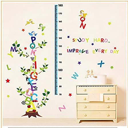 Alphabet Letters Tree Removable Height Chart Wall Sticker Kids